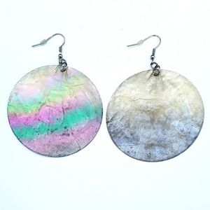 Jewelry - Large Round Shell Earrings Iridescent Lightweight